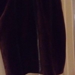 Brown suede skirt with brown leather striping.